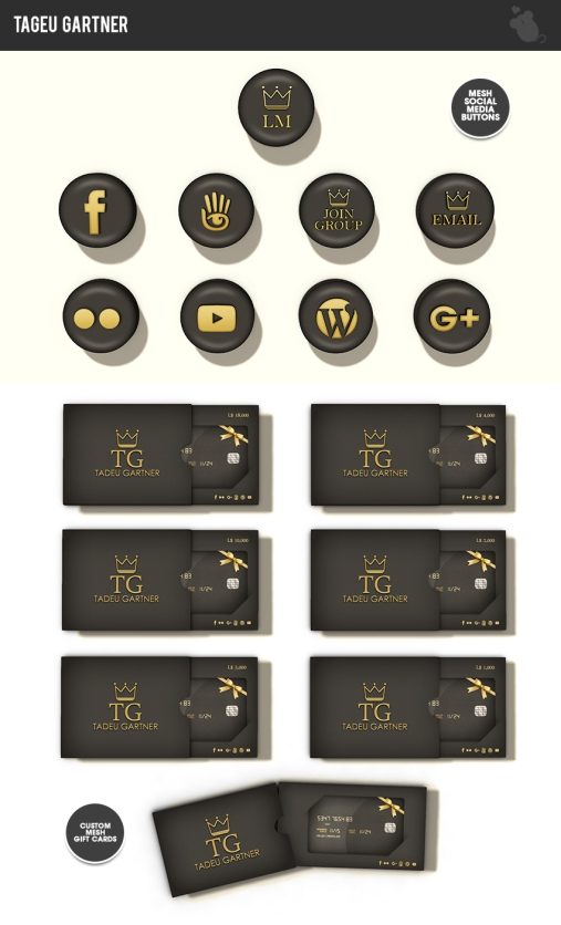 custom mesh gift cards & social icons