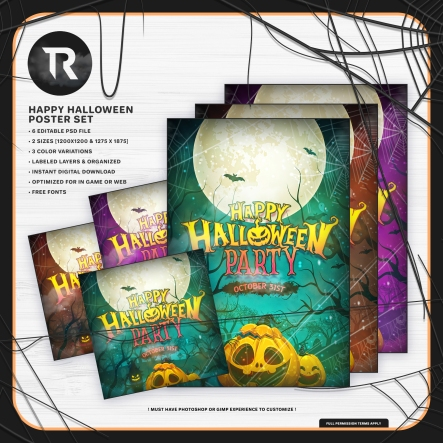 happy-halloween-party-poster-set